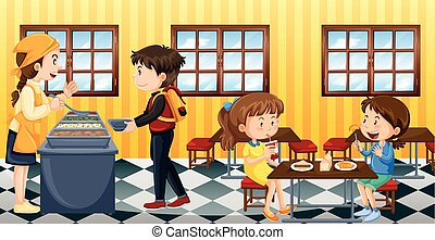 Scene with people eating in canteen illustration