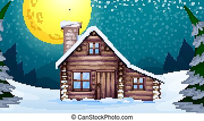 Scene with wooden house in the winter