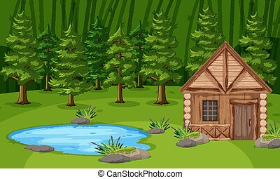 Scene with wooden hut by the pond in the green forest