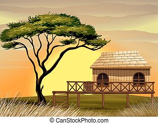 Scene with wooden hut in the field