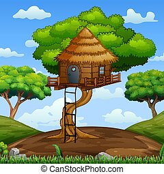 Scene with wooden treehouse in the forest