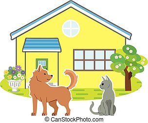 scenery of the house with dog and cat