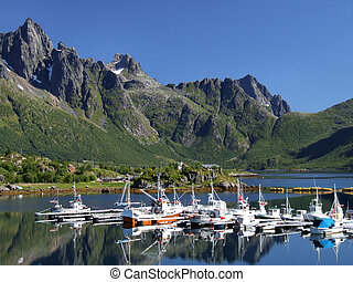 Beautiful yacht marina in summer. Typical Norwegian scenic view.