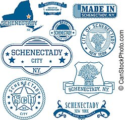 Schenectady, New York. Set of stamps and signs