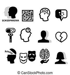 Mental disorder - schizophrenia black icons set isolated on white