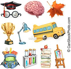 School and education, 3d vector icon set