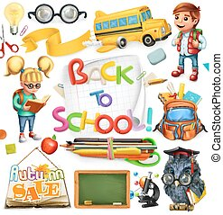 School and education. Back to school. 3d vector icon set