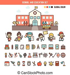 school and education infographics elements for kid