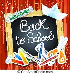 School background with blackboard, vector