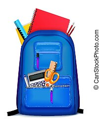School Backpack Stationery Composition