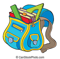 School bag with books