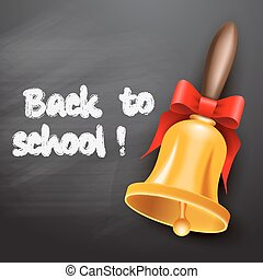 School bell with red ribbon
