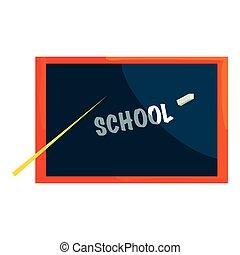 School blackboard icon, cartoon style