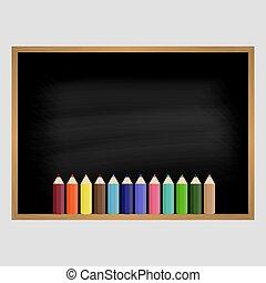 School blackboard with wooden frame. Vector illustration