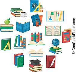 School Books Round Composition
