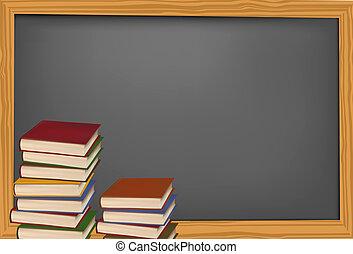 School books with apple