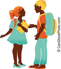 School boy and girl. Vintage student silhouettes. Back to school illustration