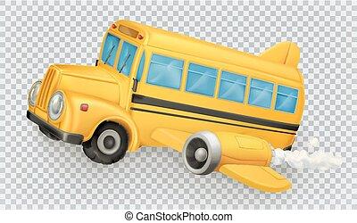 School bus, airplane. 3d vector icon