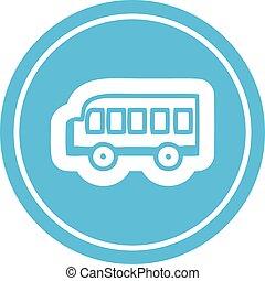 school bus circular icon
