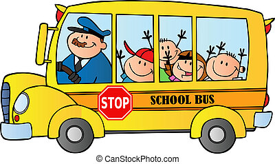School Bus With Happy Children Traveling To School