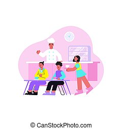 School flat composition with college classmate pupils having breakfast in canteen vector illustration
