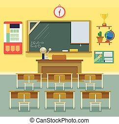 School classroom. Vector flat illustration