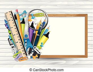 School design concept. Education supplies on a whiteboard with a free empty space for text. Wooden board background. Vector illustration.