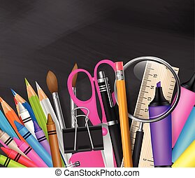 School design with realistic supplies on blackboard background, and free space for text. Vector illustration.