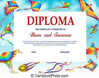 School diploma vector template with cartoon kites