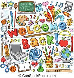 Back to School Classroom Supplies Notebook Doodles