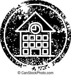 school house distressed icon