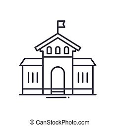 School house icon, linear isolated illustration, thin line vector, web design sign, outline concept symbol with editable stroke on white background.