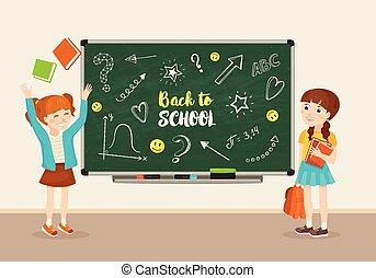 school kids vector illustration
