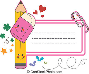 Cute back to school name tag label sticker with copy space