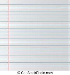 School notebook paper. Vector illustration