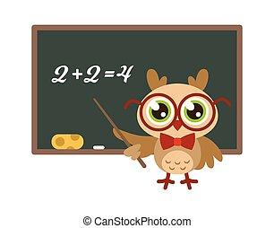 School owl near blackboard. Cute bird with glasses teaching mathematics, funny joyful bird teacher, knowledge and learning mascot, wisdom symbol child print isolated illustration