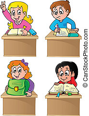School pupils theme image 1 - vector illustration.