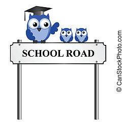 School Road street name sign