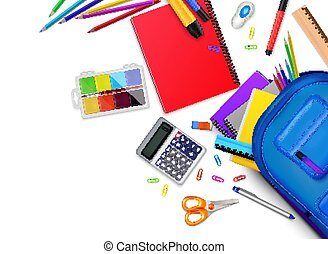 School Stationery Frame Composition