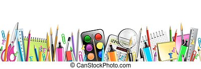 School Supplies Banner Isolated On White Backboard