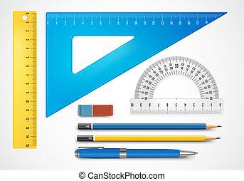 Colorful school supplies, vector illustration