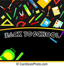 School supplies on blackboard background.