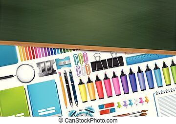 School supplies on white background behind green chalkboard with wooden frame, free space for text. Vector illustration.