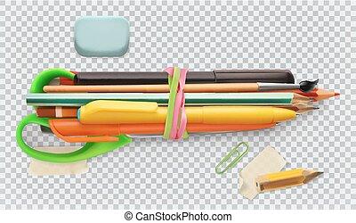 School supplies. Pen, pencil, brush, scissors. 3d vector icon set