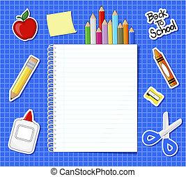 school supplies stickers background