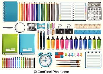 School supplies. Vector illustration.