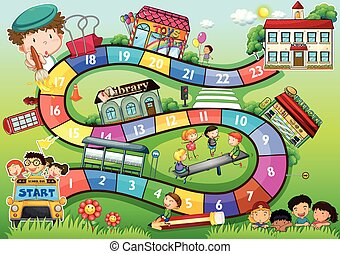 Gameboard with a school kids theme