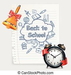 School time Alarm vector illustration