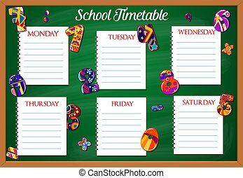 School timetable or schedule template, education