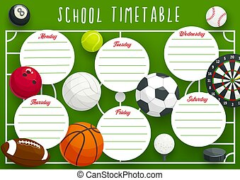 School timetable template of education planner